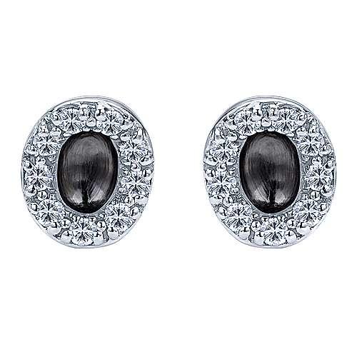 14k White Gold Trends Stud Earrings angle 1