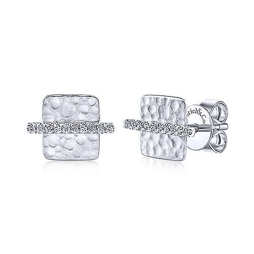 14k White Gold Trends Stud Earrings angle 1