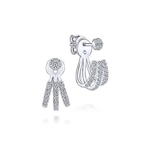 14k White Gold Tri Strand Peek A Boo Diamond Earrings