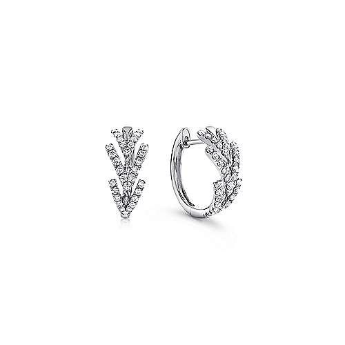 14k White Gold Triple Chevron Diamond Huggie Earrings