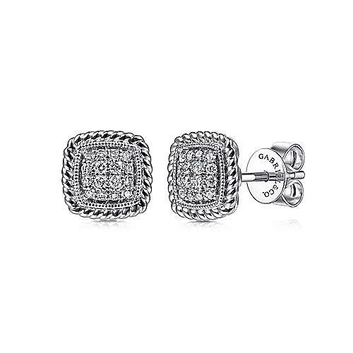 14k White Gold Twisted Cluster Diamond Stud Earrings