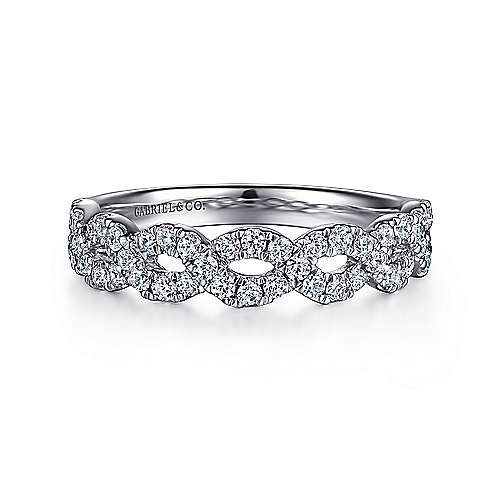 14k White Gold Twisted Diamond Anniversary Band