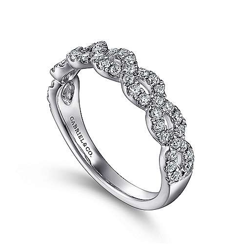 14k White Gold Twisted Diamond Anniversary Band angle 3