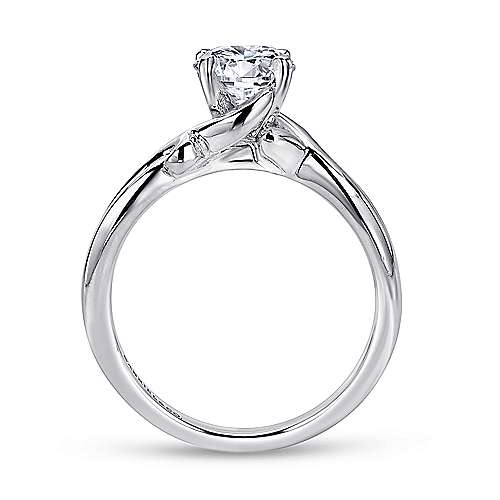 14k White Gold Twisted Engagement Ring angle 2