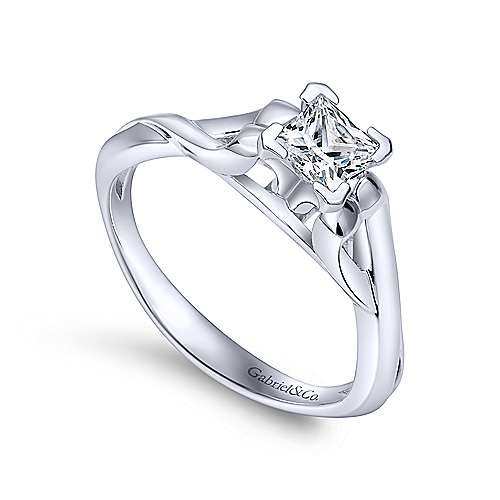 14k White Gold Twisted Engagement Ring angle 3