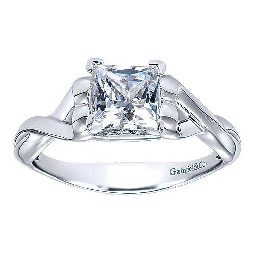 14k White Gold Twisted Engagement Ring angle 5