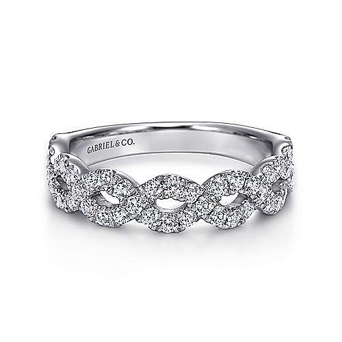 14k White Gold Twisted Micro Pavé Anniversary Band