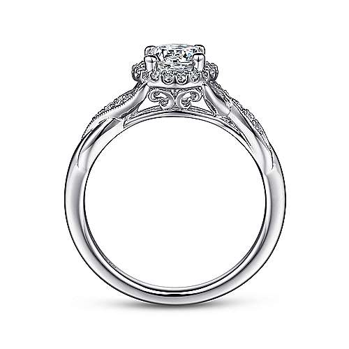 14k White Gold Twisted Shank Diamond Halo Engagement Ring angle 2