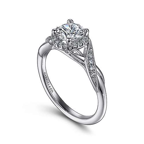 14k White Gold Twisted Shank Diamond Halo Engagement Ring angle 3