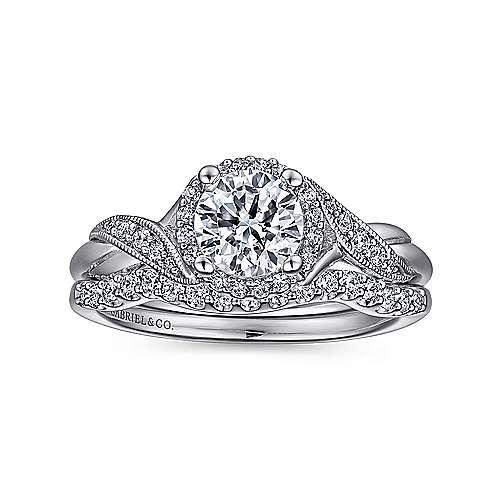 14k White Gold Twisted Shank Diamond Halo Engagement Ring angle 4