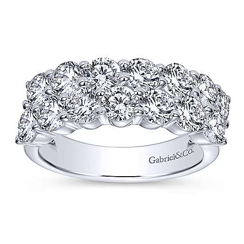 14k White Gold Two Row Anniversary Band