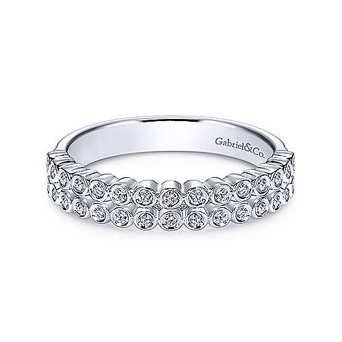 Gabriel - 14k White Gold Two Row Bezel Set Anniversary Band