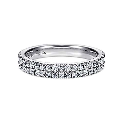 Gabriel - 14k White Gold Two Row French Pavé Band