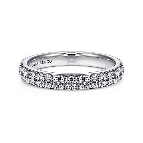 Gabriel - 14k White Gold Two Row Micro Pavé Channel Set Band