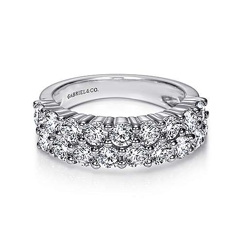 Gabriel - 14k White Gold Two Row Prong Set Anniversary Band