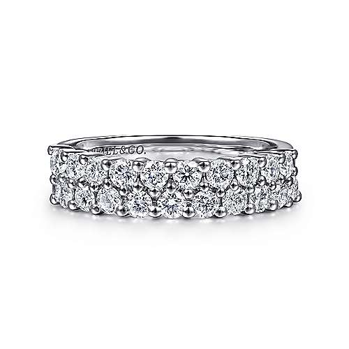 Gabriel - 14k White Gold Two Row Prong Set Band