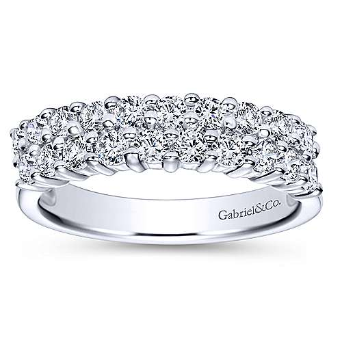 14k White Gold Two Row Prong Set Band