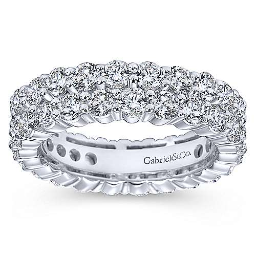 14k White Gold Two Row Shared Prong Eternity Band
