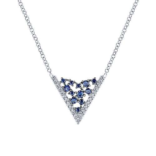 Gabriel - 14k White Gold V Shaped Diamond Sapphire Constellation Necklacae