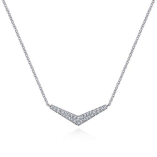 Gabriel - 14k White Gold V-Shaped Lusso Bar Necklace