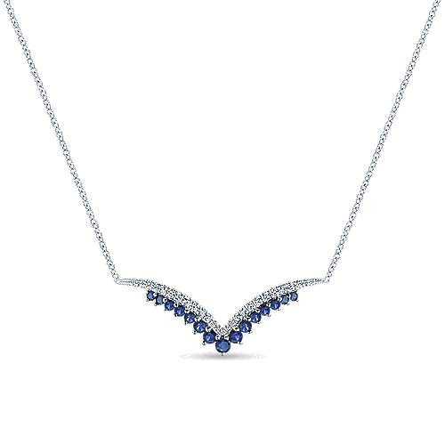 Gabriel - 14k White Gold V Shaped Sapphire & Diamond Bar Necklace