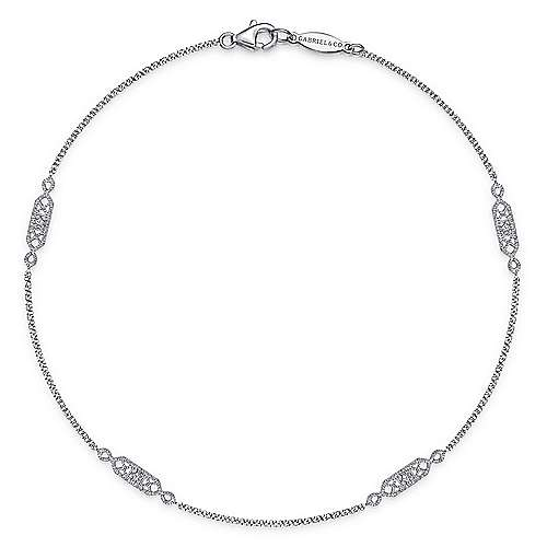 Gabriel - 14k White Gold Victorian Chain Ankle Bracelet