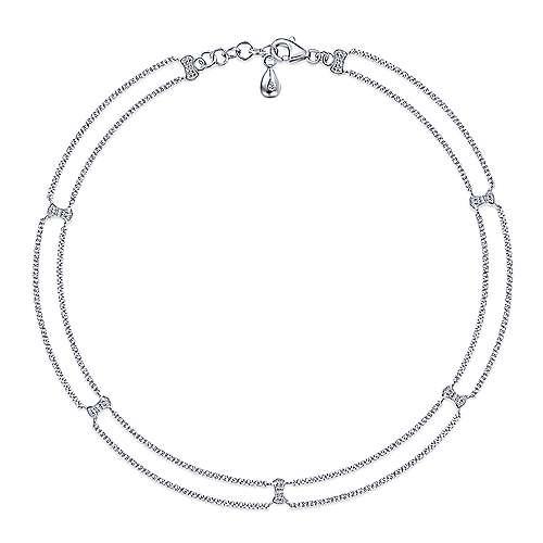 14k White Gold Victorian Chain Ankle Bracelet