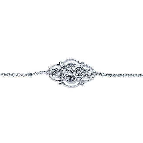 14k White Gold Victorian Chain Bracelet angle 2