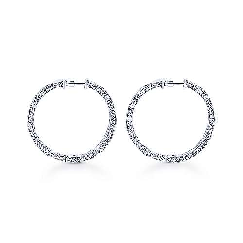 14k White Gold Victorian Classic Hoop Earrings angle 2