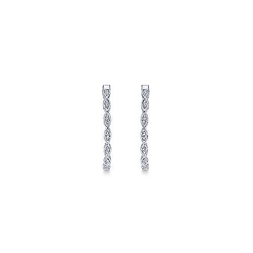 14k White Gold Victorian Classic Hoop Earrings angle 3