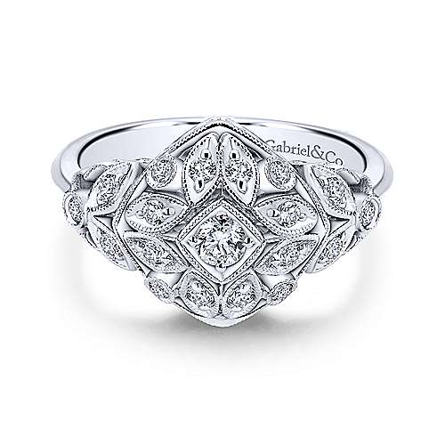 14k White Gold Victorian Classic Ladies' Ring angle 1