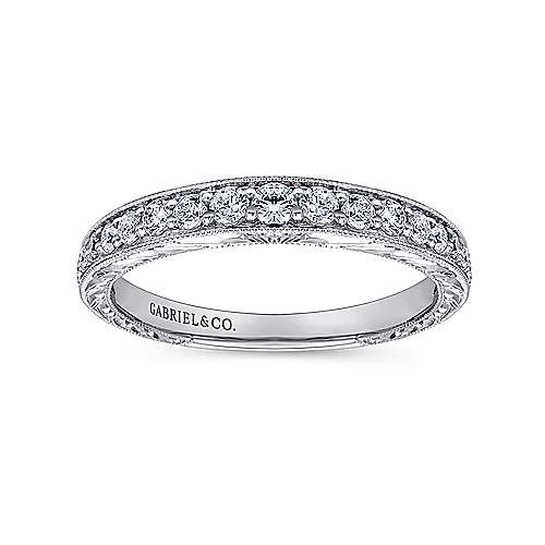 14k White Gold Victorian Curved Wedding Band