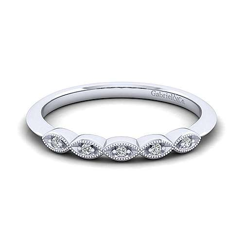 Gabriel - 14k White Gold Victorian Curved Wedding Band