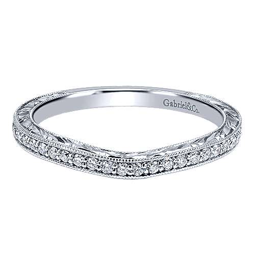 Vintage 14k White Gold  Curved