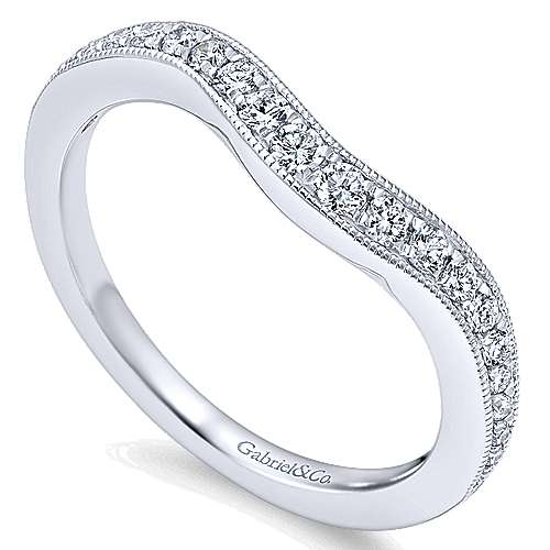 14k White Gold Victorian Curved Wedding Band angle 3