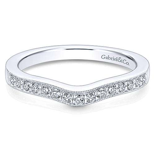 14k White Gold Victorian Curved Wedding Band angle 1