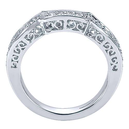 14k White Gold Victorian Curved Wedding Band angle 2
