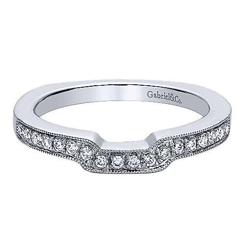 Gabriel - 14k White Gold Victorian Curved Wedding Band