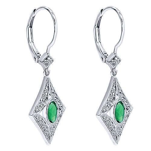 14k White Gold Victorian Drop Earrings angle 5
