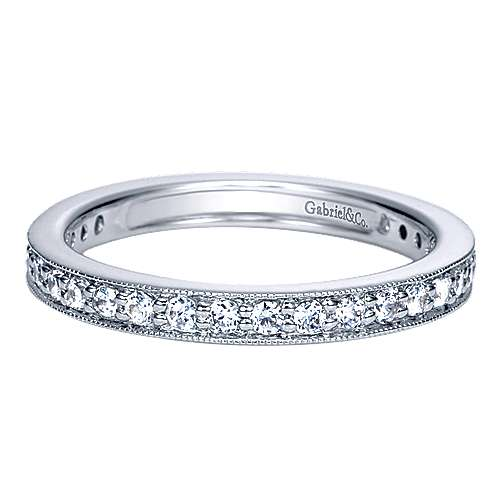 14k White Gold Victorian Eternity Band Anniversary Band angle 1
