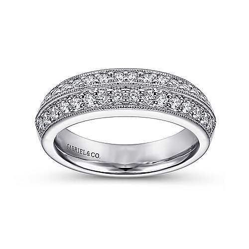 14k White Gold Victorian Fancy Anniversary Band angle 4