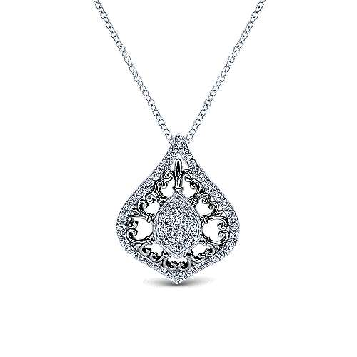 14k White Gold Victorian Fashion Necklace angle 1