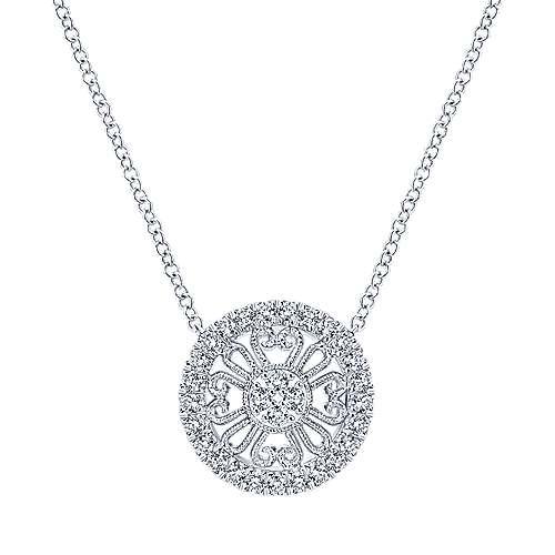 14k White Gold Victorian Fashion Necklace