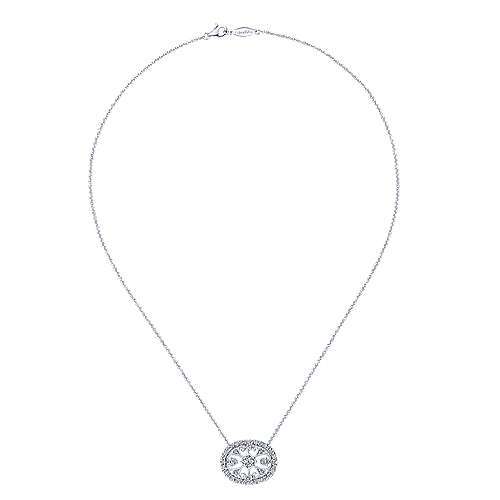 14k White Gold Victorian Fashion Necklace angle 2