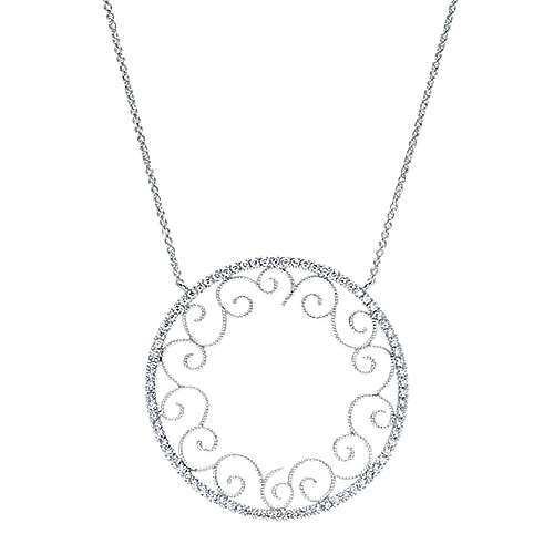14k White Gold Victorian Fashion Necklace