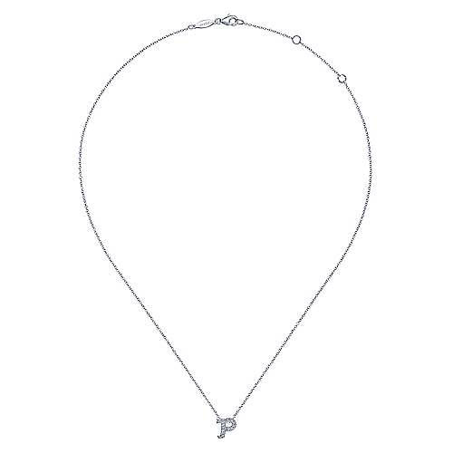 14k White Gold Victorian Initial Necklace angle 2