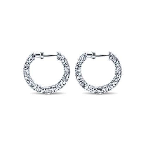 14k White Gold Victorian Inside Out Diamond Hoop Earrings angle 2