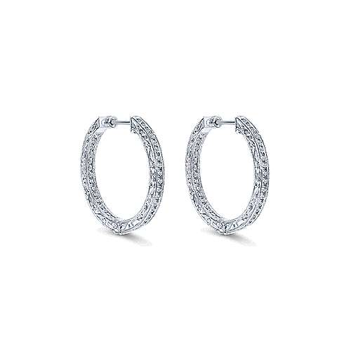 14k White Gold Victorian Inside Out Diamond Hoop Earrings angle 1