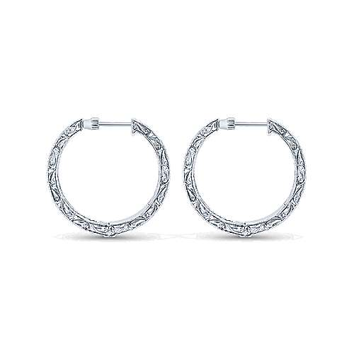 14k White Gold Victorian Inside Out Diamond Hoop Earrings angle 2