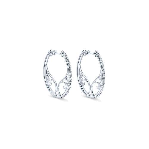 14k White Gold Victorian Intricate Hoop Earrings